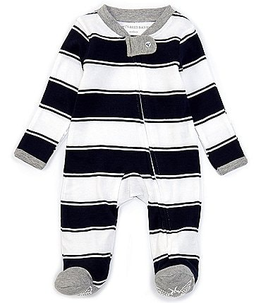 Image of Burt's Bees Baby Newborn-9 Months Long-Sleeve Stripe Sleep & Play Footed Pajamas