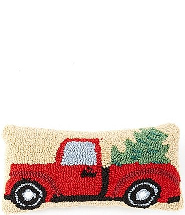 Image of C & F Enterprises Christmas Truck Hooked Pillow