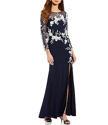 Image of Cachet Applique Illusion Jersey Gown
