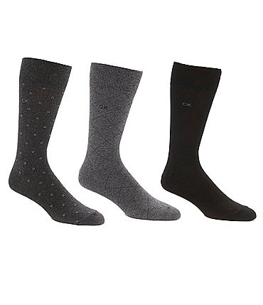 Image of Calvin Klein Patterned Crew Dress Socks 3-Pack
