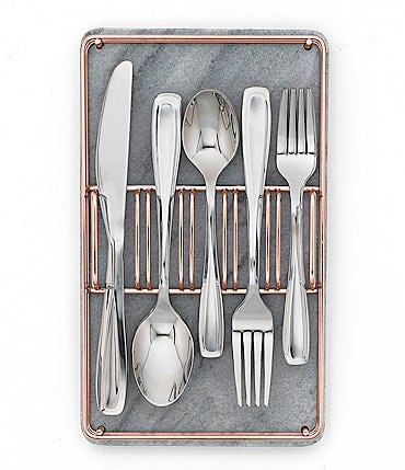 Image of Cambridge Silversmiths Waylen 40-Piece Mirror Stainless Steel Flatware Set in Marble & Copper Buffet