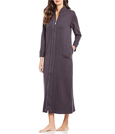 Image of Carole Hochman Diamond Quilt Zip-Front Long Robe