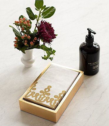 Image of Caspari Desin Passementerie Linen Paper Guest Towel & Gold Lacquer Holder Set