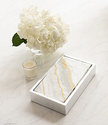 Image of Caspari Marble Paper Guest Towel & Silver Lacquer Holder Set
