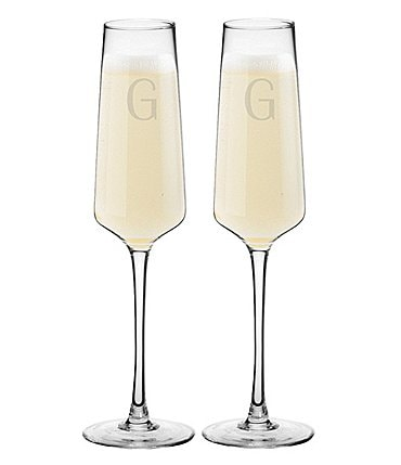 Image of Cathy's Concepts 9.5oz Initial Champagne Estate Glasses, Set of 2