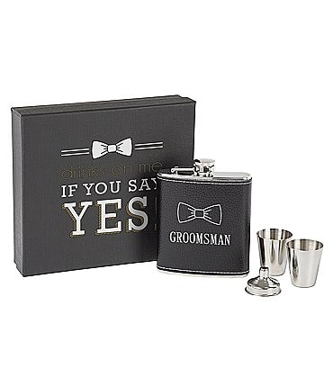 Image of Cathy's Concepts Groomsman Flask Set
