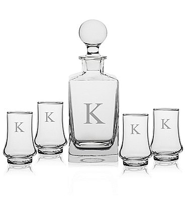 Image of Cathy's Concepts Initial 5-Piece Classic Whiskey Decanter Set