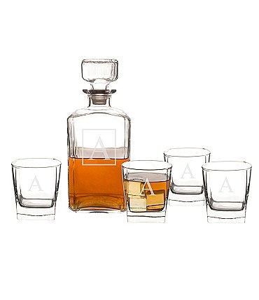 Image of Cathy's Concepts Initial 6-Piece Whiskey Decanter & Lowball Glass Set