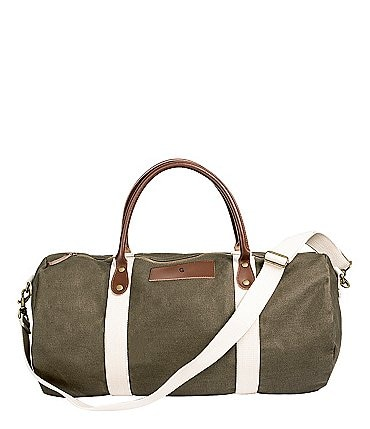 Image of Cathy's Concepts Initial Canvas & Leather Green Duffel Bag