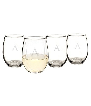 Image of Cathy's Concepts Initial 21-oz. Stemless Wine Glass Set of 4