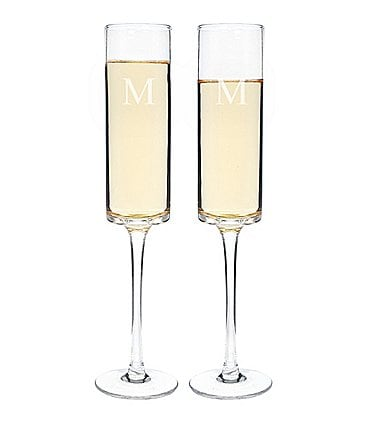 Image of Cathy's Concepts Initial 8-oz. Contemporary Champagne Flute, Set of 2