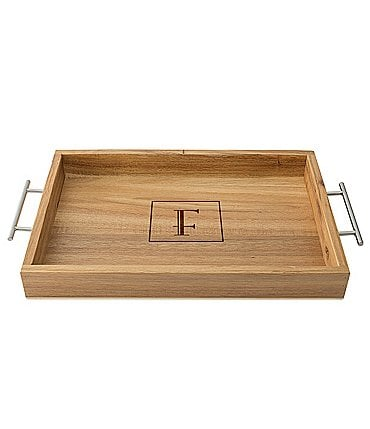 Image of Cathy's Concepts Personalized Acacia Tray with Metal Handles