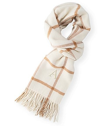 Image of Cathy's Concepts Personalized Camel Windowpane Blanket Scarf