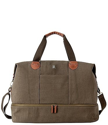 Image of Cathy's Concepts Personalized Dark Green Canvas Transport Weekender
