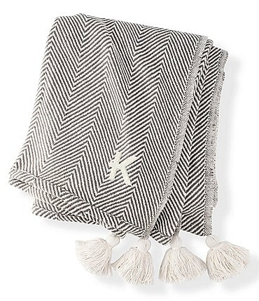 Image of Cathy's Concepts Personalized Herringbone Pom Throw Blanket