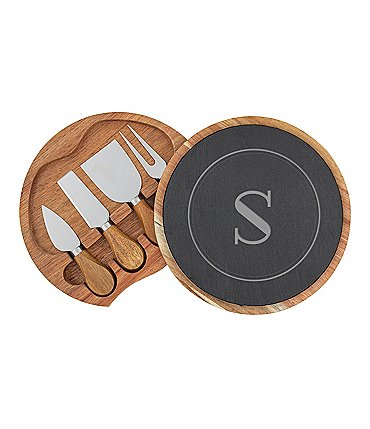Image of Cathy's Concepts Personalized Slate and Acacia Cheese Board with Utensils