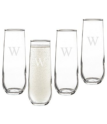 Image of Cathy's Concepts Initial Stemless Champagne Flutes