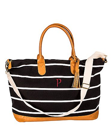 Image of Cathy's Concepts Personalized Striped Canvas Oversized Weekender Tote