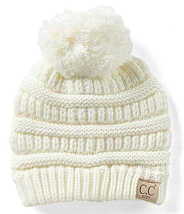 Image of CC Girl Solid Pom Beanie Hat