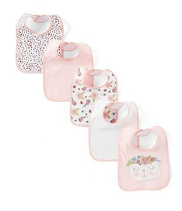 Image of Chick Pea Baby Girls Floral Cat 5-Pack Bib Set