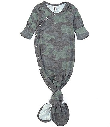 Image of Copper Pearl Baby Boys Newborn-6 Months Long-Sleeve Hunter Camo Print Knotted Gown