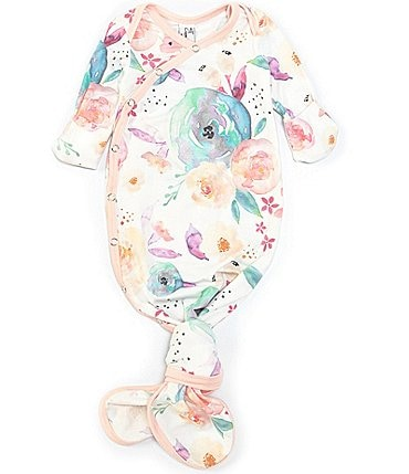 Image of Copper Pearl Baby Girls Newborn-6 Months Long-Sleeve Bloom Floral Print Knotted Gown