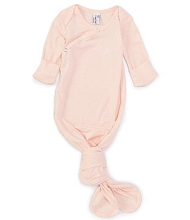 Image of Copper Pearl Baby Newborn-6 Months Long-Sleeve Knotted Gown