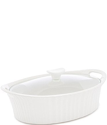 Image of CorningWare French White 2.5-Quart Oval Casserole w/ Glass Lid