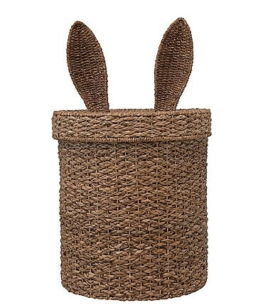 Image of Edgehill Collection Hand-Woven Seagrass & Rattan Bunny-Ear Basket