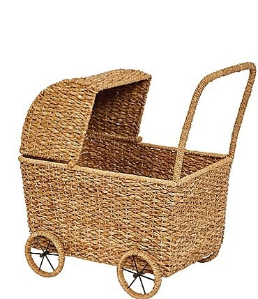 Image of Edgehill Collection Handwoven Seagrass Doll Bassinet Stroller