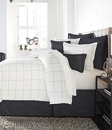 Image of Cremieux Owen Linen Windowpane Duvet Mini Set