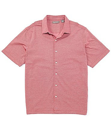 Image of Daniel Cremieux Signature Solid Short-Sleeve Button-Front Knit Shirt