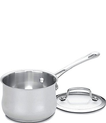 Image of Cuisinart Contour Stainless Steel 1-Quart Saucepan with Cover