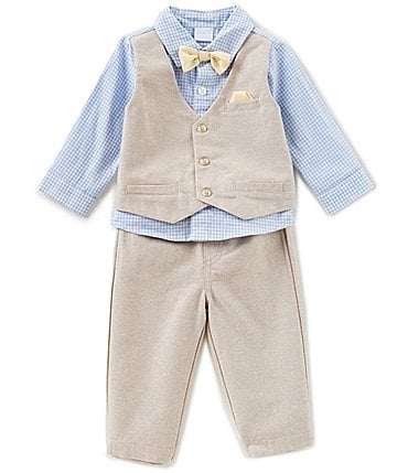 Image of Edgehill Collection Baby Boys Newborn-6 Months Gingham Woven Shirt, Bow Tie, Mock Vest, & Pants Set