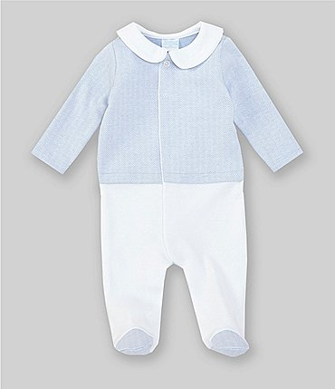 Image of Edgehill Collection Baby Boys Newborn-6 Months Herringbone Footed Coverall