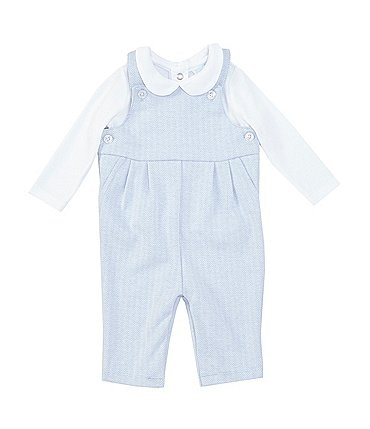 Image of Edgehill Collection Baby Boys Newborn-6 Months Long-Sleeve Peter-Pan Top & Herringbone Overall Set