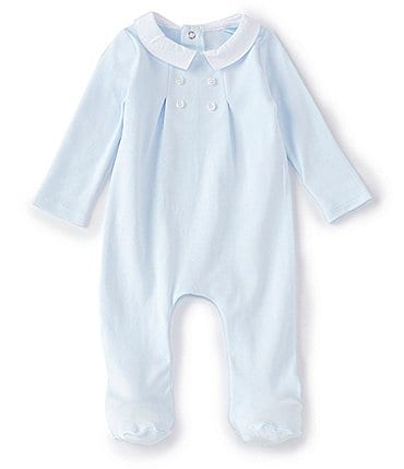 Image of Edgehill Collection Baby Boys Newborn-6 Months Long-Sleeve Pleated Footed Coverall