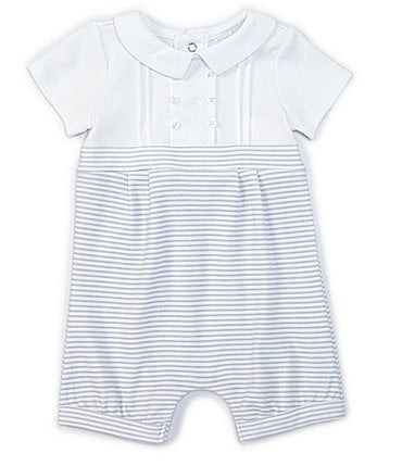 Image of Edgehill Collection Baby Boys Newborn-6 Months Short-Sleeve Pleated Solid/Stripe Romper
