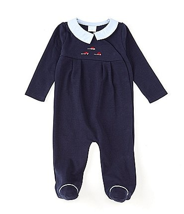 Image of Edgehill Collection Baby Boys Preemie-6 Months Long-Sleeve Car-Embroidered Footed Coverall