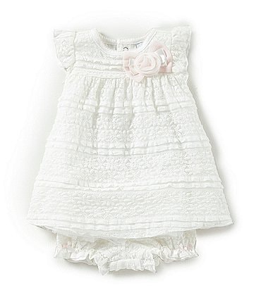 Image of Edgehill Collection Baby Girls Newborn- 6 Month Rose and Bow Dress