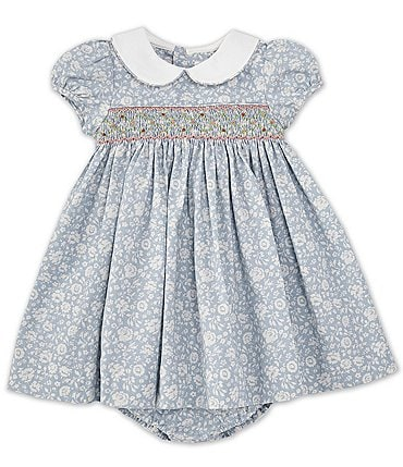 Image of Edgehill Collection Baby Girls 3-24 Months Peter Pan Collar Smocked Dusty Floral A-Line Dress