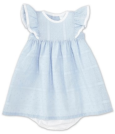 Image of Edgehill Collection Baby Girls 3-24 Months Ruffle Sleeve Swiss Dot A-Line Dress