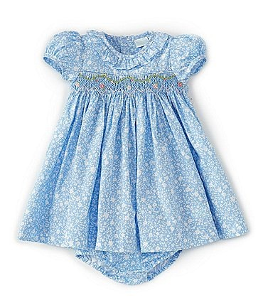 Image of Edgehill Collection Baby Girls 3-24 Months Smocked Ditsy Floral A-Line Dress