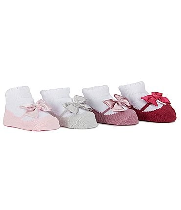 Image of Edgehill Collection Baby Girls 4-Pack Mary Jane Socks