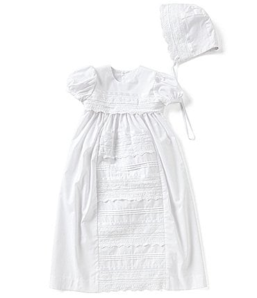 Image of Edgehill Collection Baby Girls Newborn-12 Months Lace Christening Gown & Matching Bonnet Set