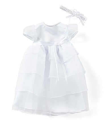 Image of Edgehill Collection Baby Girls Newborn-12 Months Pearl Neck Tiered Christening Gown and Headband