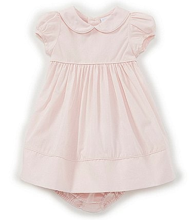 Image of Edgehill Collection Baby Girls Newborn-24 Months Peter-Pan Collar Solid A-Line Dress
