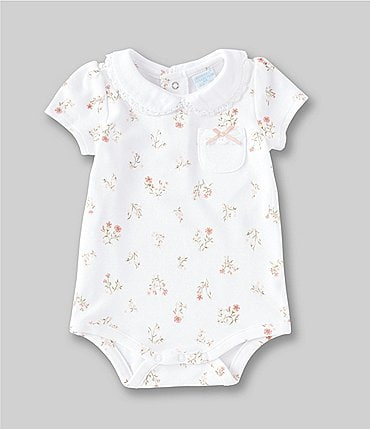 Image of Edgehill Collection Baby Girls Newborn-6 Months Floral Crochet-Trim Bodysuit