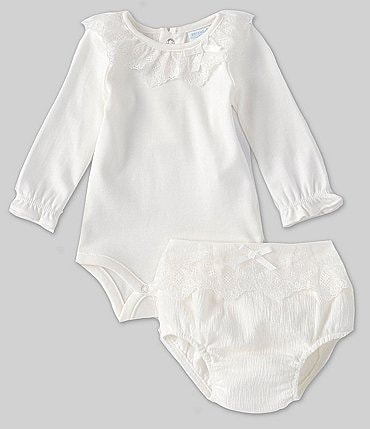 Image of Edgehill Collection Baby Girls Newborn-6 Months Long-Sleeve Bodysuit & Lace-Trim Diaper Cover Set