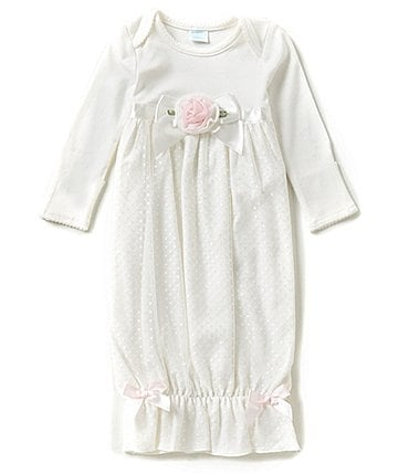 Image of Edgehill Collection Baby Girls Newborn-6 Months Long-Sleeve Rosette Dress